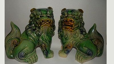 pair PORCELAIN ASIAN FOO DOGS Figurines