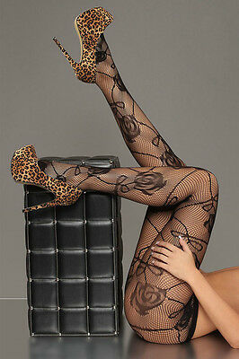 Black  Floral  Pattern Fishnet Pantyhose Stockings Tights one size fits most