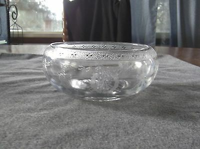 """Vintage Cambridge Glass Clear Wedgewood Etch 6"""" Cupped Flower Bowl"""