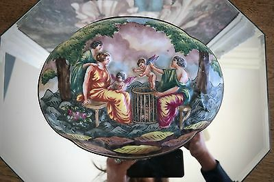Original French Jewelry Trinket Dresser Box Hand Painted Relief Large