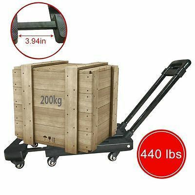 440 lbs 200kg Folding Cart Hand Collapsible Trolley Luggage Dolly Rolling Truck