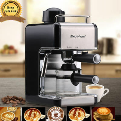 Premium Steam Espresso Machine Cappuccino Latte Coffee Maker 4-Cup 3.5 Bar 800W