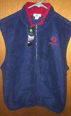 Pebble Beach Kids Brand Full Zip Lrg. Fleece Vest. Embroidered Logo New W/tags