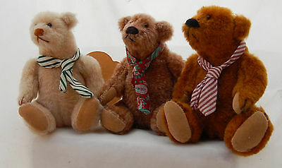 "Miniature Teddy Bear 5"" Artist Linda Spiegel Bearly There 3pc Funny Necktie LE"