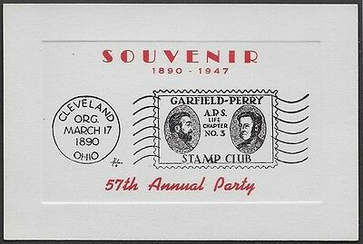 USA Poster Stamps: Garfield-Perry Stamp Club 1947 Embossed Souvenir Card (ow31)
