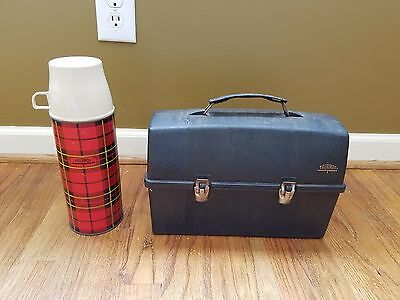 Vintage Black Plastic Thermos Lunch Box with Red Plaid Thermos