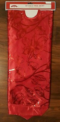"""Holiday Time 48"""" Christmas Tree Skirt Red Foil Floral Bright Pretty NEW"""