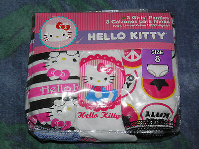 Girls Hello Kitty 3pk Panties Size 8- NEW!