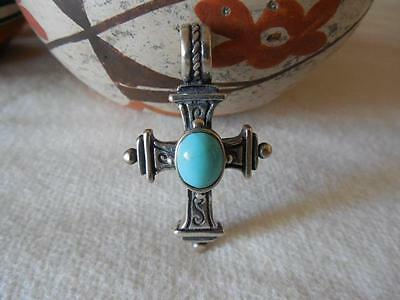 Beautiful Vintage Mexico Turquoise 925 Sterling Silver Cross Pendant 10.1g