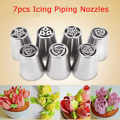 7 Pcs 3-Color Icing Piping Russian Nozzle Converter Coupler Cake Cream Decor