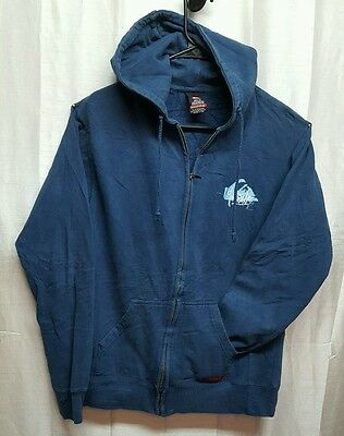 Men's Large Quicksilver Blue Full Zipper Hoodie Sweater Jacket Skater torn 200