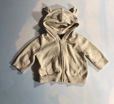 Baby Boy's Baby Gap 0-3 Months Tan Zip Up Ear Hooded Cardigan Sweater