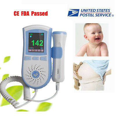 FHR Detection Monitor LCD Display Fetal Heart Doppler 3MHz Probe + GELFDAA US CE