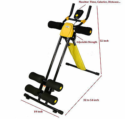 Power Plank YELLOW Adjustable AB cruncher workout 5 minutes shaper abdominal