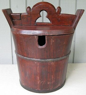 Antique Chinese? Old Asian Carved Lacquer Wood Water Rice Bucket  with Lid