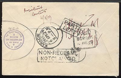 England 1929 Flight cover London to George Hill Karachi India PARTI LEFT