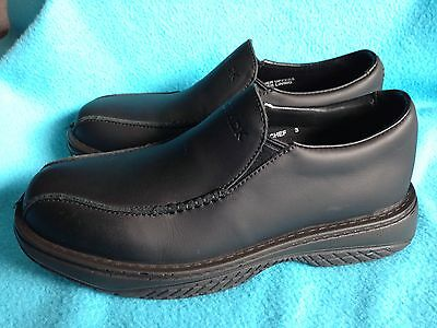 Brand New Redback CHEF Shoes BLACK LEATHER PULL-ON Work Oil Resistant Work Boots