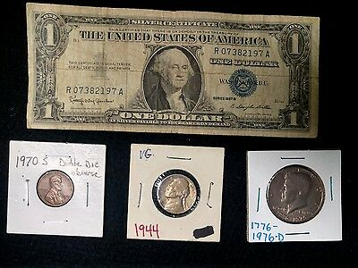 U.S. Coins AND BONUS ERROR 1C COIN AND 1957 B $1 Silver Certificate LOT OF 4