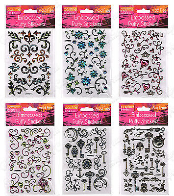 Embossed Puffy Stickers ~6 Design Options Craft Card Scrapbooking Flourish Heart
