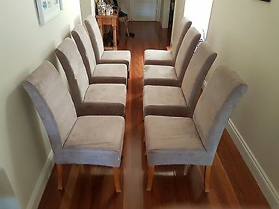 Dining Room chairs biege microsuede x 8