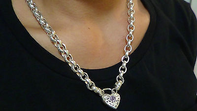Necklace & Bracelet With Padlock Matching Set Solid Silver As New Condition
