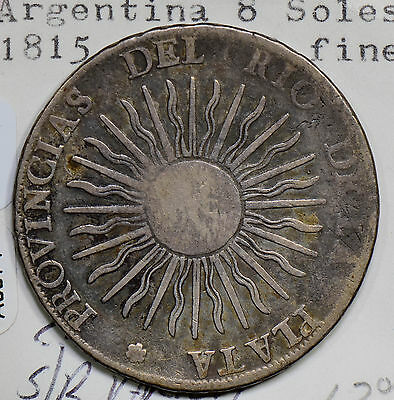A0074 Argentina 1815  8 Soles silver  combine shipping