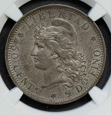 NG0314 Argentina 1882  50 Cents silver  NGC MS63 rare in this grade  combine shi
