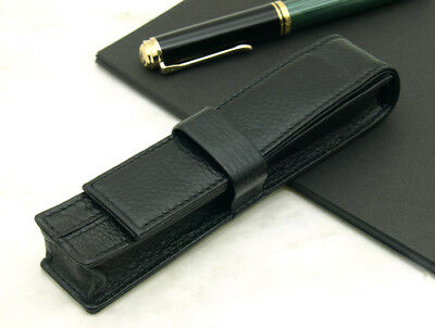 Wancher Japan Black Single 1 Pen Case Genuine Calfskin Leather Collectible