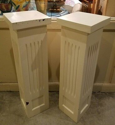 Pair neoclassical wooden fluted columns newel post pedestals, architectural chic