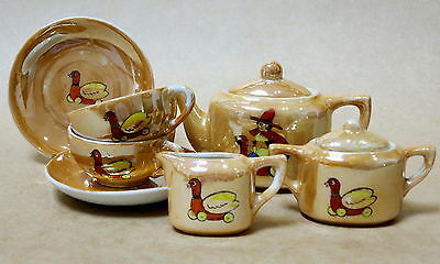 VINTAGE LUSTRE WARE CHILD'S TEA SET c.1950s JAPAN