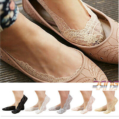 6Pair Womens Ladies Skin Shoe Liners Footsies Invisible Thin Lace Socks Sheer UK