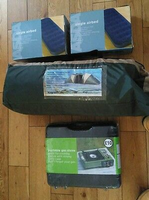Camping Equipment - 6 man/person tent + stove + 2xSingle Airbeds