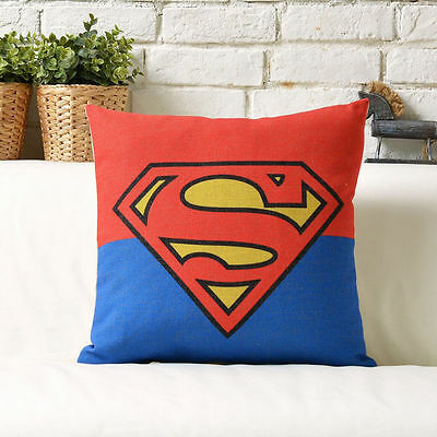"""18"""" Marvels Superman Cotton Linen Cushion Cover Sofa Bed Living Room"""