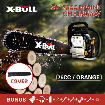 "X-BULL 75cc Petrol Commercial Chainsaw 20"" Bar Chain Saw E-Start Pruning New"