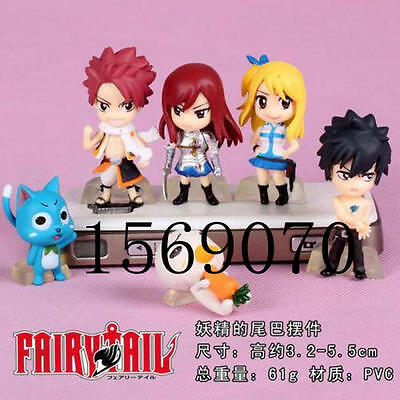 Fairy Tail Lucy Natsu Erza Gray Painted PVC Action Figure