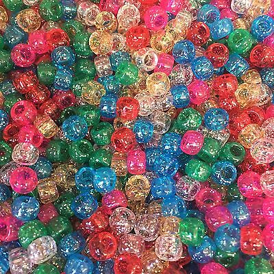 100 x 6mm Classic Sparkle Beads, Loom Bands, Dummy Clips, Pony Beads