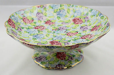 Blue Hydrangea Chintz Floral Cake Plate James Kent Old Foley 1990s Reissue