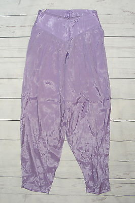 Size 10-12 vintage 80s high waist pleat baggy harem trousers silky lilac (HH31)