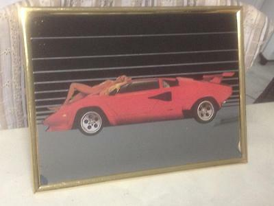 Vintage Retro Lamborghini / Ferrari ? Car & Naked Nude Lady Bar Mirror Sign Tin?