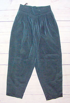 Size 10-12 vintage 80s high waist pleat front harem trousers silky green (HH34)