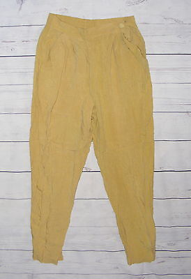 Size 10-12 vintage 80s high waist pleat front taper harem trousers yellow (HH15)
