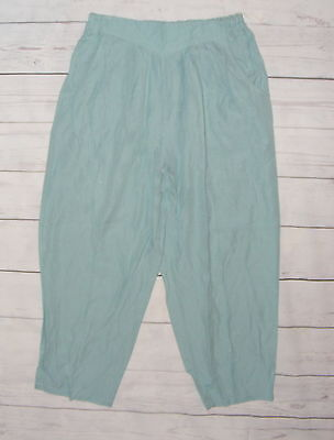 Size 12-14 vintage 80s high waist pleat taper baggy trousers light green (HH17)