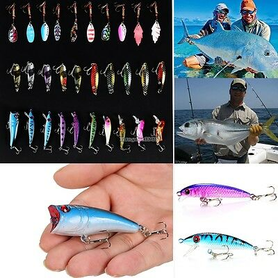 NEW Lot 30pcs Kinds of Fishing Lures Crankbaits Spinner Hooks Baits Tackle ED