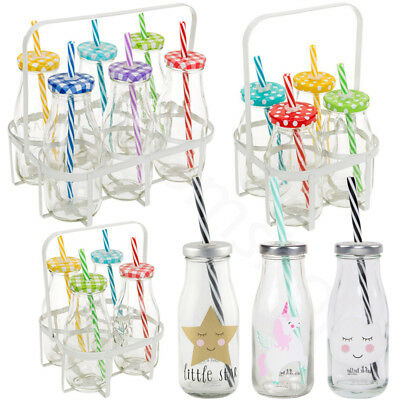 New Set of Mini Milk Bottles In White Crates Tea Party Decoration Wedding BBQ