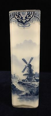 Antique/Vintage French Belgium Art Glass with Blue and White Vase
