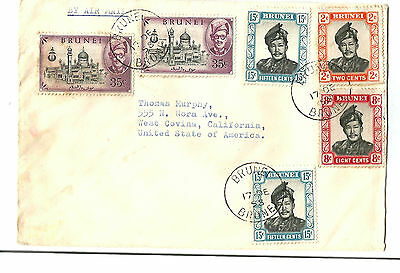 BRUNEI  1958 airmail cover to USA at $ 1.10 rate    Nice franking!
