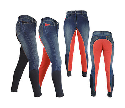 HyPERFORMANCE RUGBY DENIM Ladies Breeches Jean Full Seat Navy/Red 24-34