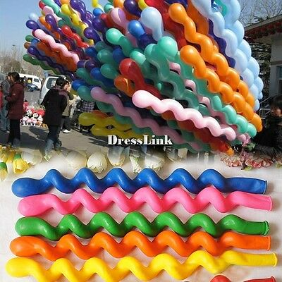 Hot 50PCS Colorful Latex Rubber Helium Spiral Balloons for Wedding  Party DL0
