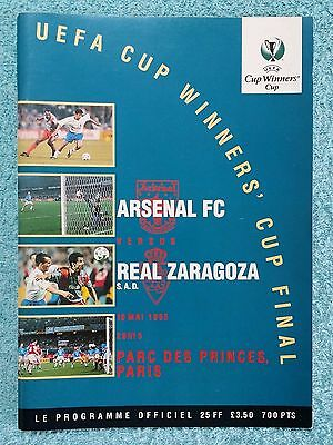 1995 - CUP WINNERS CUP FINAL PROGRAMME - ARSENAL v REAL ZARAGOZA