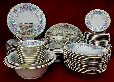SYRACUSE china LILAC ROSE pattern 87-pc SET SERVICE for TWELVE (12)